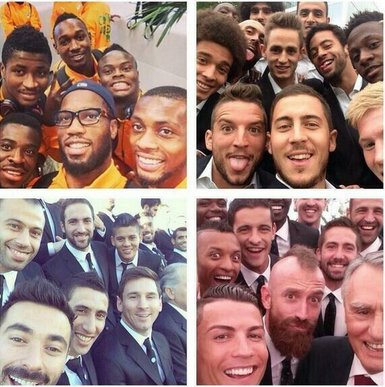Selfies des équipes de la Côte d'Ivoire, de la Belgique, de l'Argentine et du Portugal.
