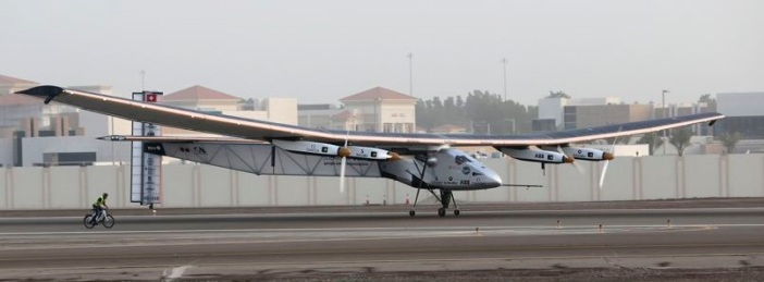 The Solar Impulse 2 takes off at airport in Abu Dhabi
